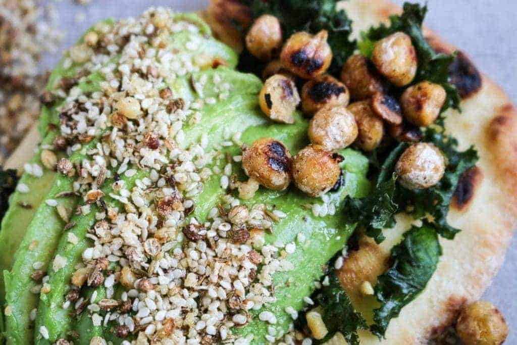 Naan Avocado Toast with Dukkah & Pan-Fried Chickpeas - Unsweetened Caroline-10
