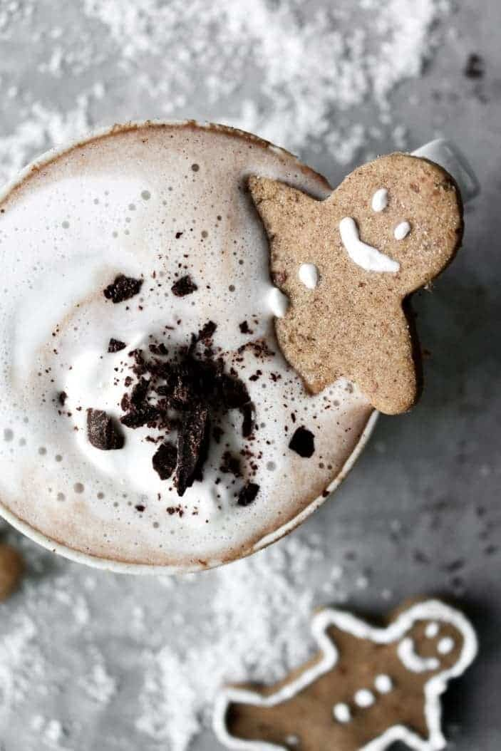 Creamy Sugar-Free Hot Chocolate seen from the top as part of the great holiday desserts on the blog