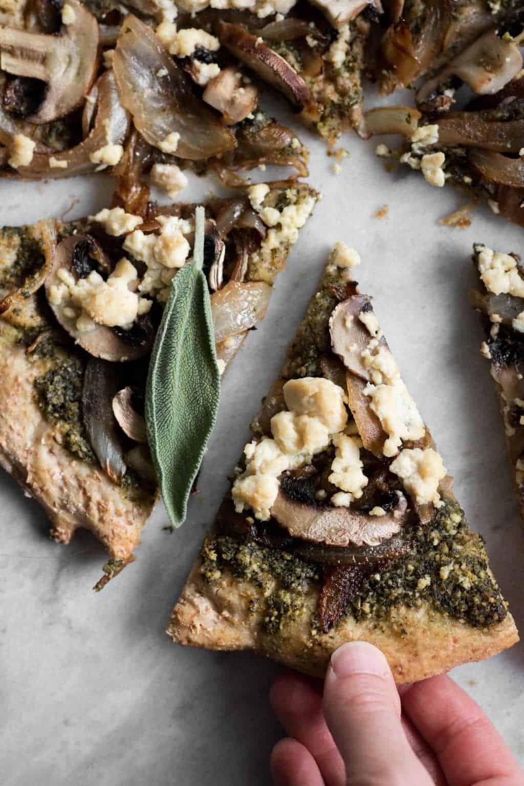 Mushroom & Caramelized Onion Pizza with Sage Pesto