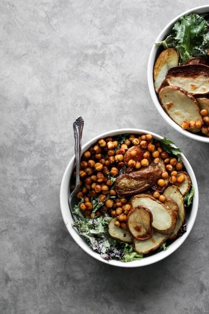 Roasted Potato & Chickpea Salad from the top