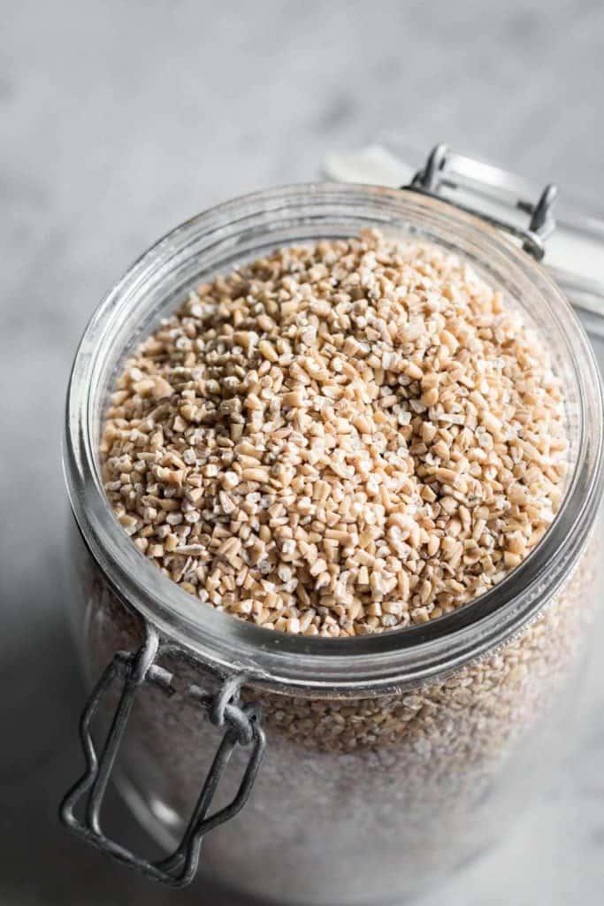 steel cut oats in a jar