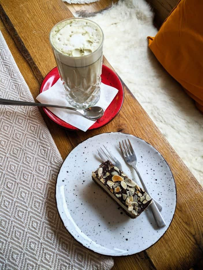 Austria Vegetarian Guide - chocolate slice and matcha
