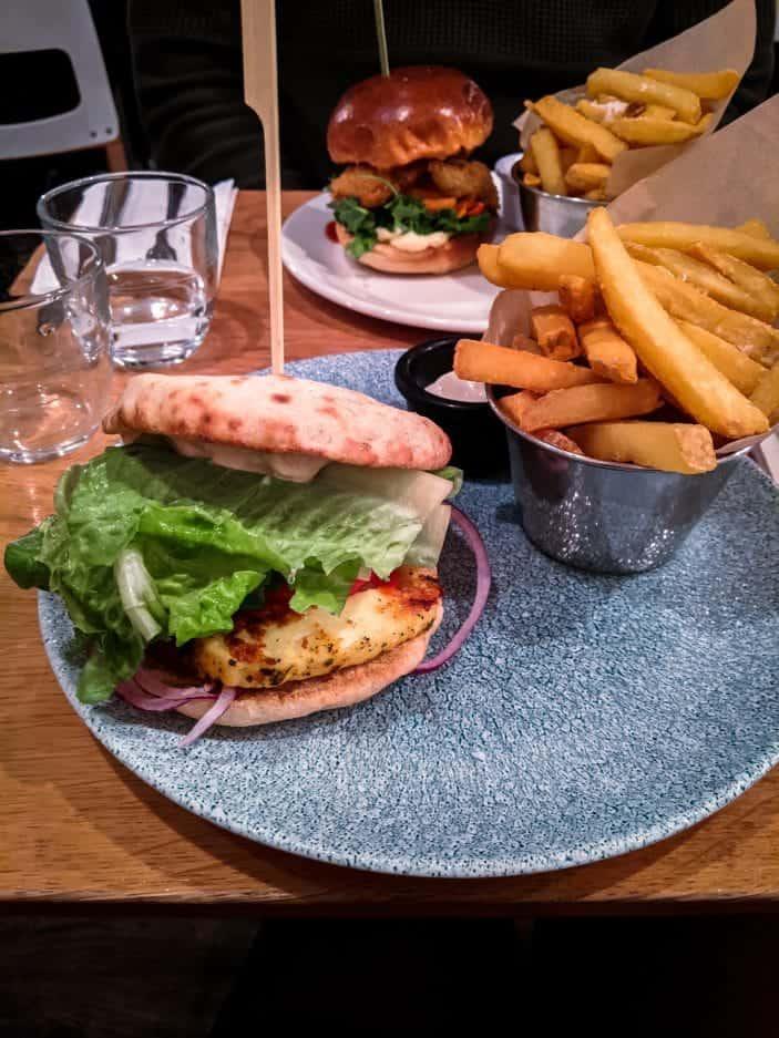 vegetarian burger and fries