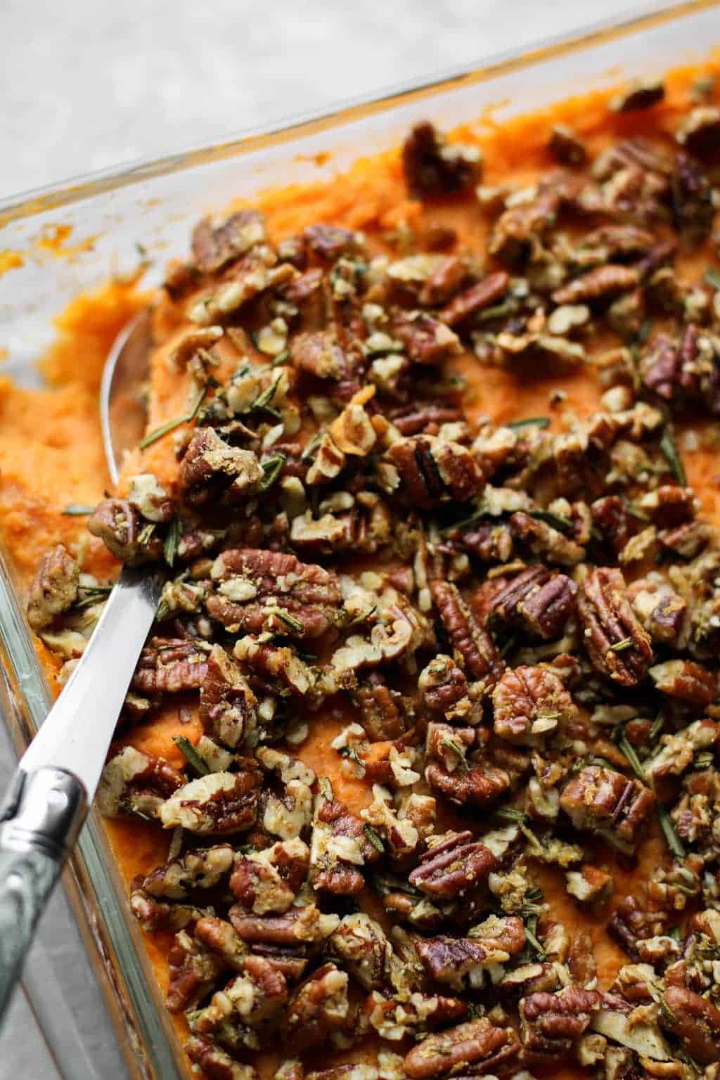 Savory Sweet Potato Casserole with Rosemary Pecan Parmesan   Unsweetened Caroline