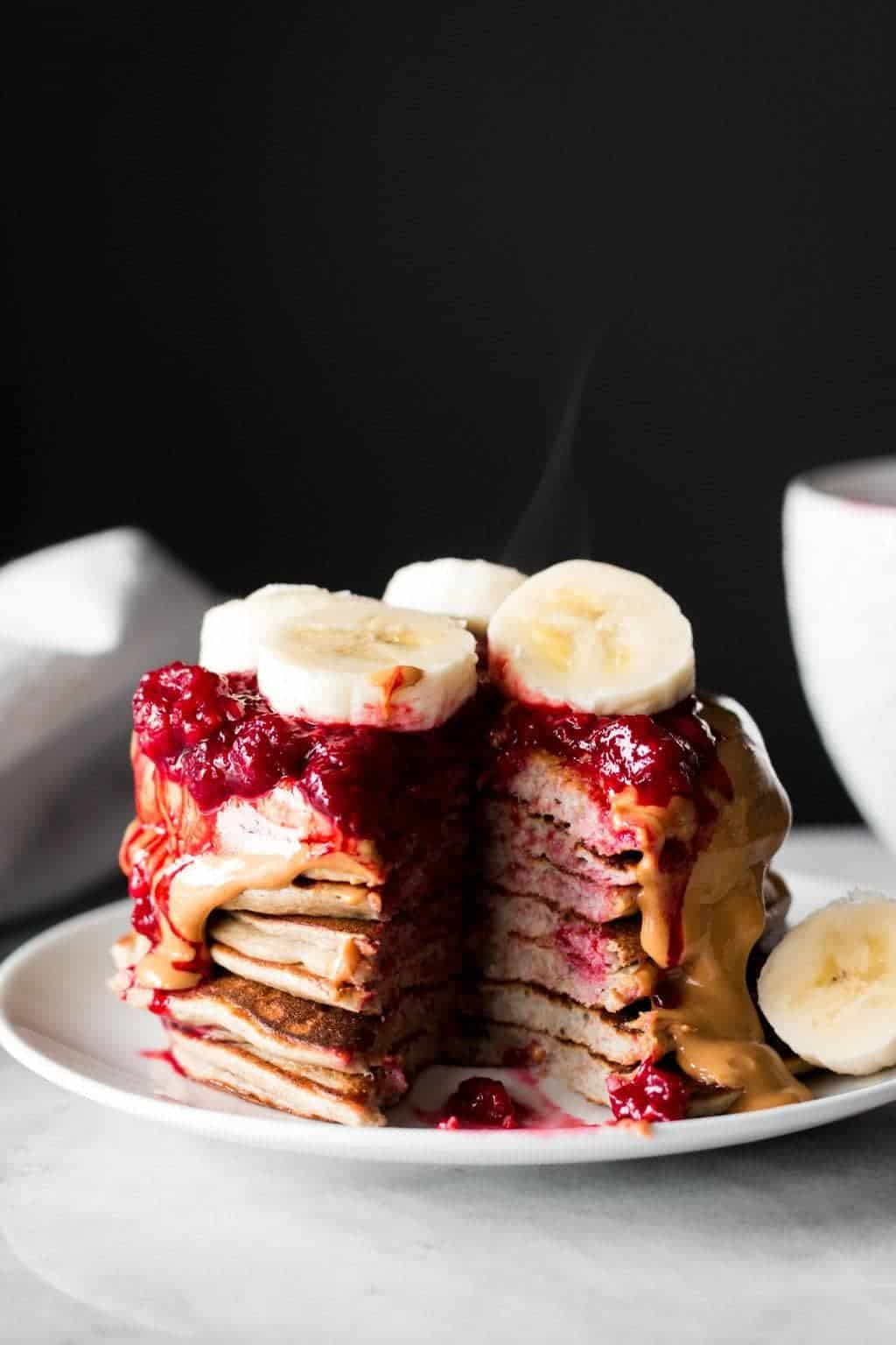 Whole Wheat Banana Pancakes with berries