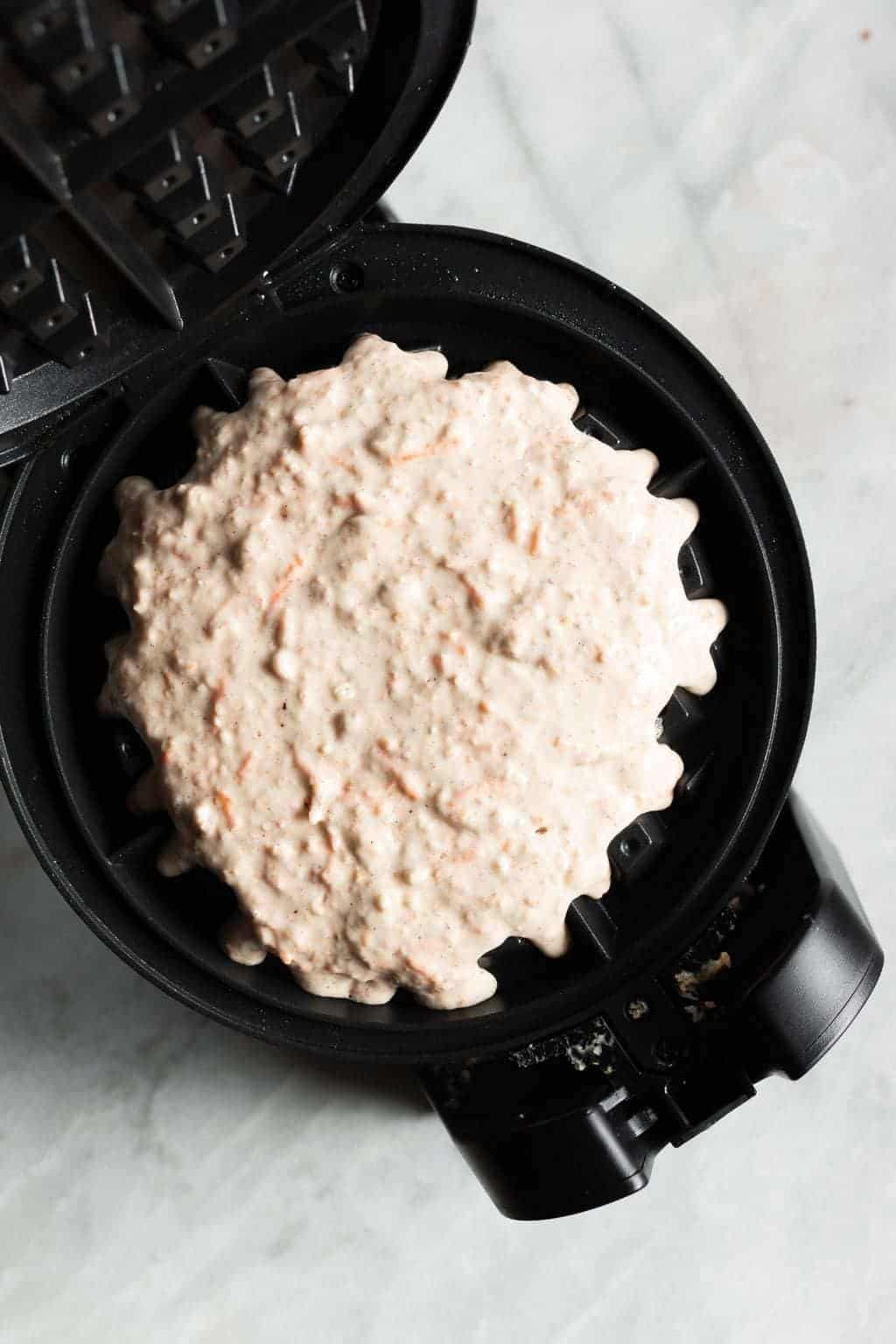 Whole Wheat Spiced Carrot Cake Waffles