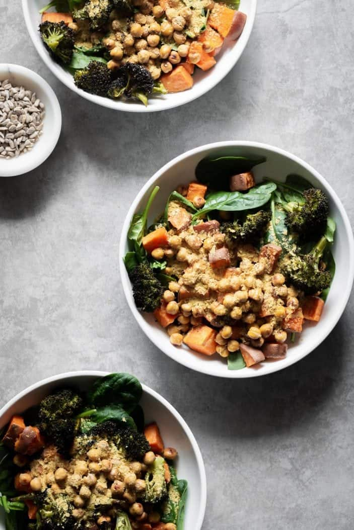 roasted buddha bowl from the top