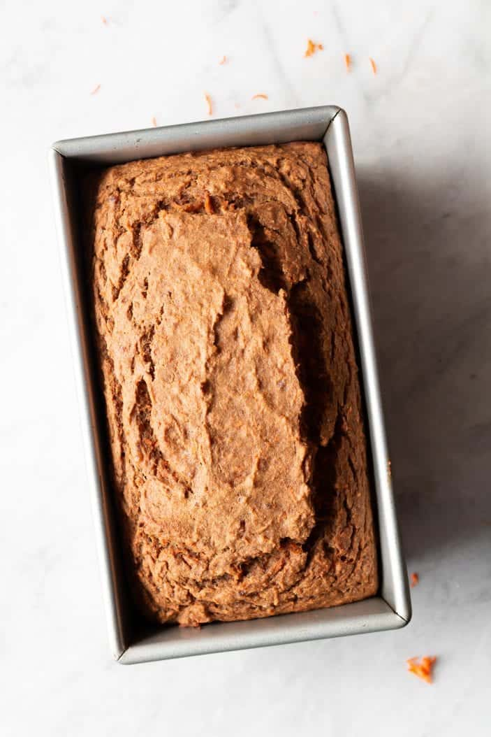 baked carrot cake loaf in pan