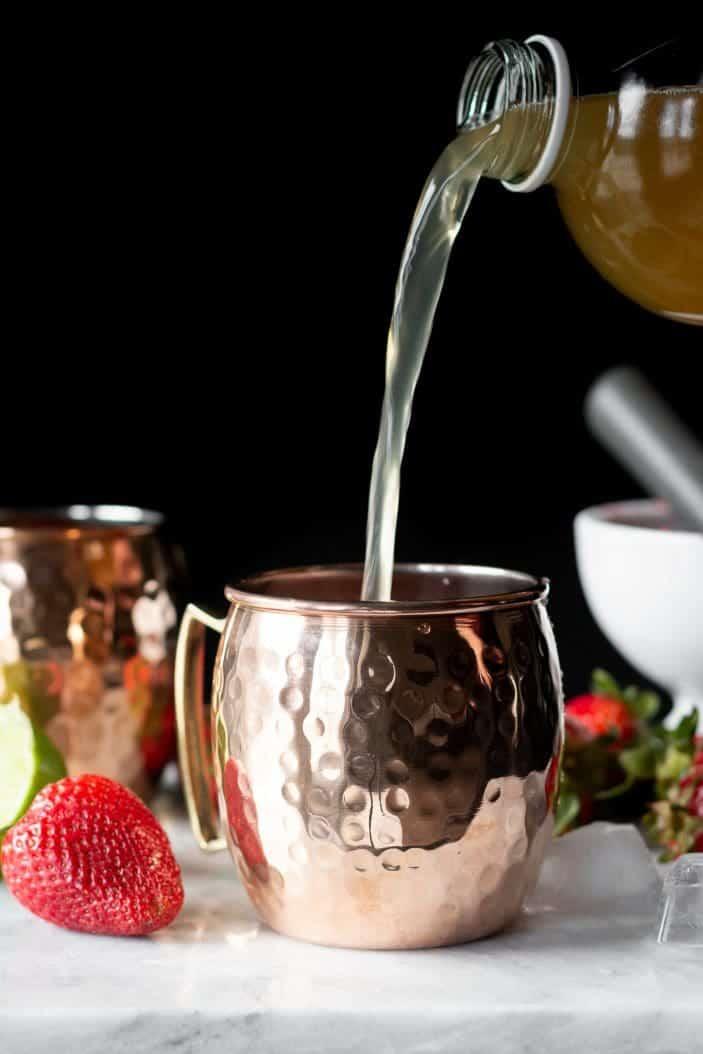 kombucha poured into a glass