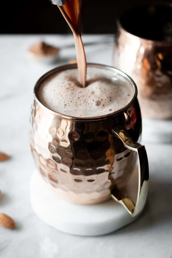 Blender Almond Hot Chocolate poured in cup
