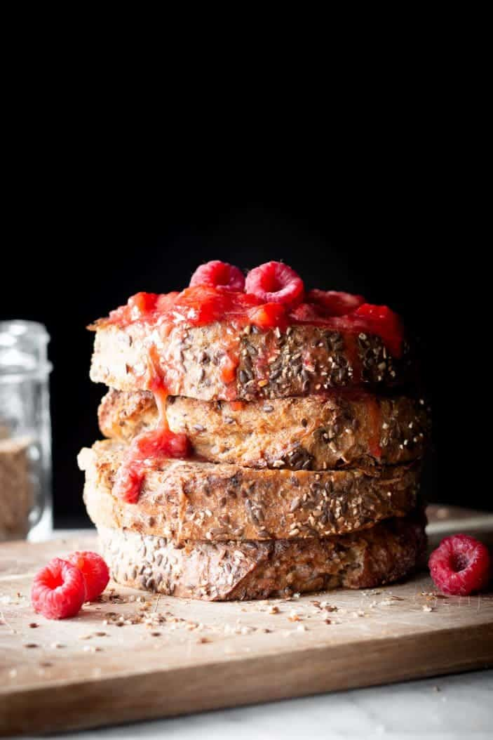 vegan french toast with raspberries