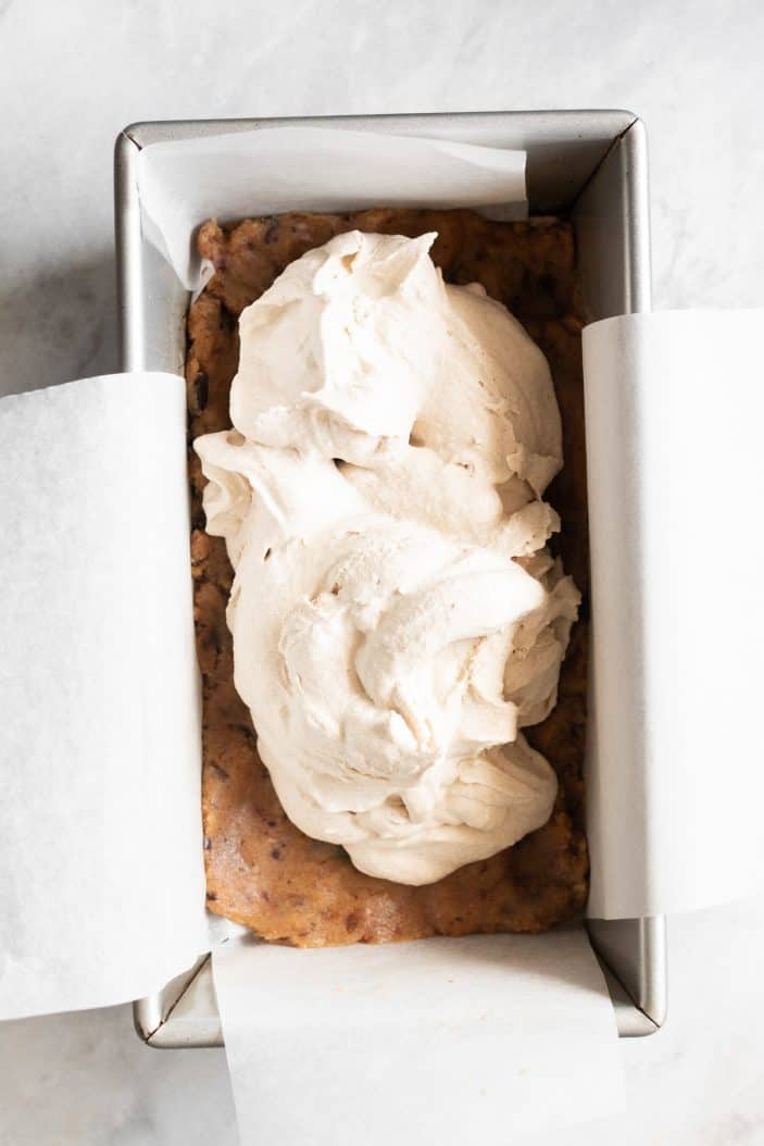 ice cream and cookie dough in a loaf pan