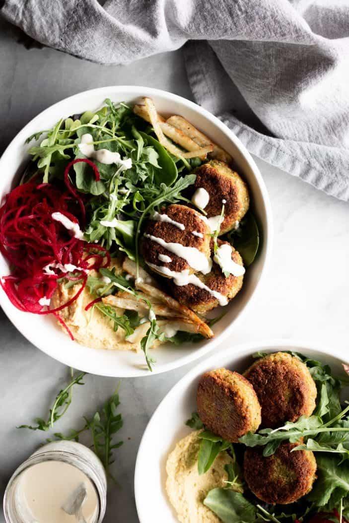 Beet Falafel Power Bowl with sauce