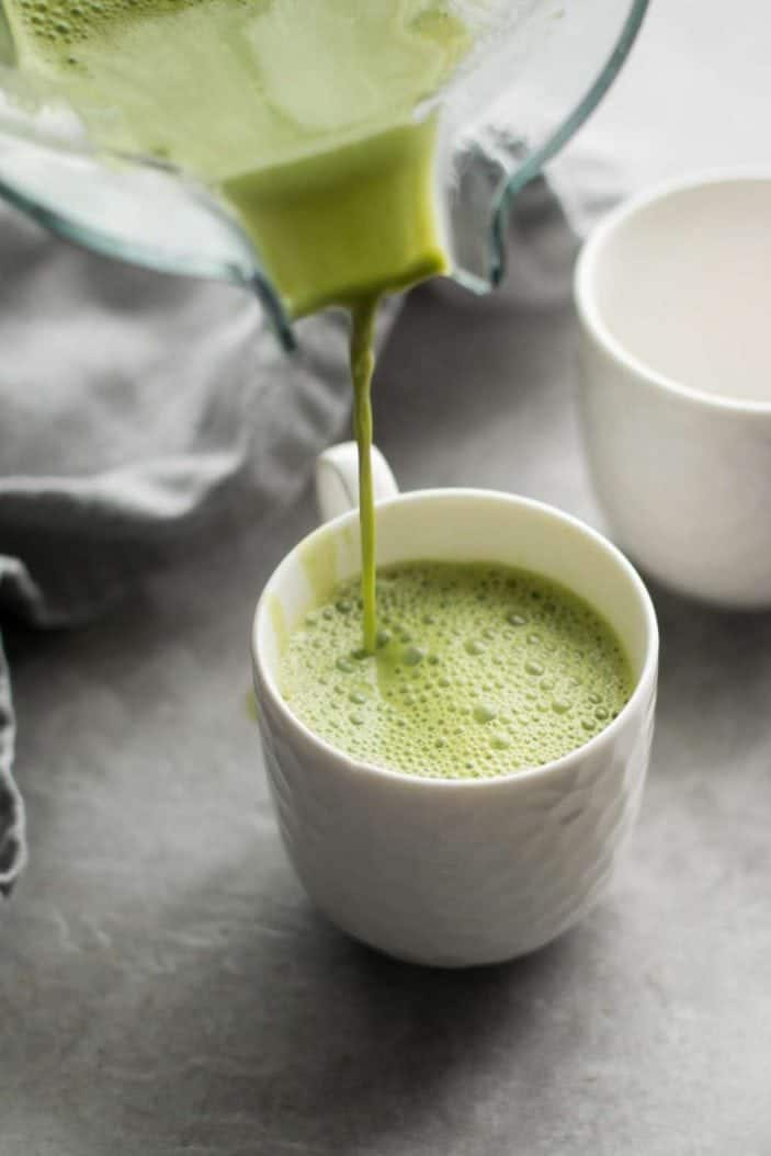 Matcha Mint Latte poured in cup
