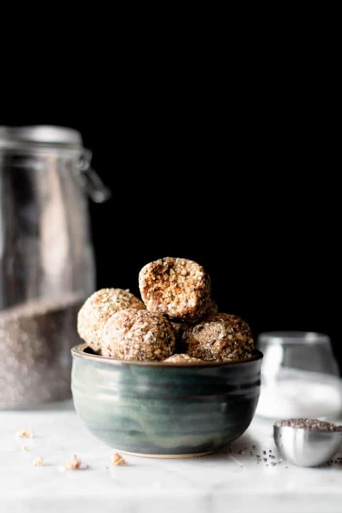 Salted Caramel Energy Bites in bowl