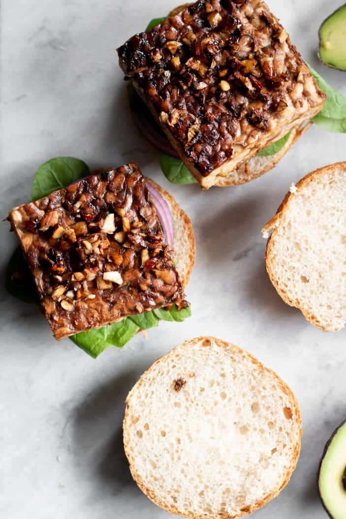 open Tamari Almond Tempeh Burger