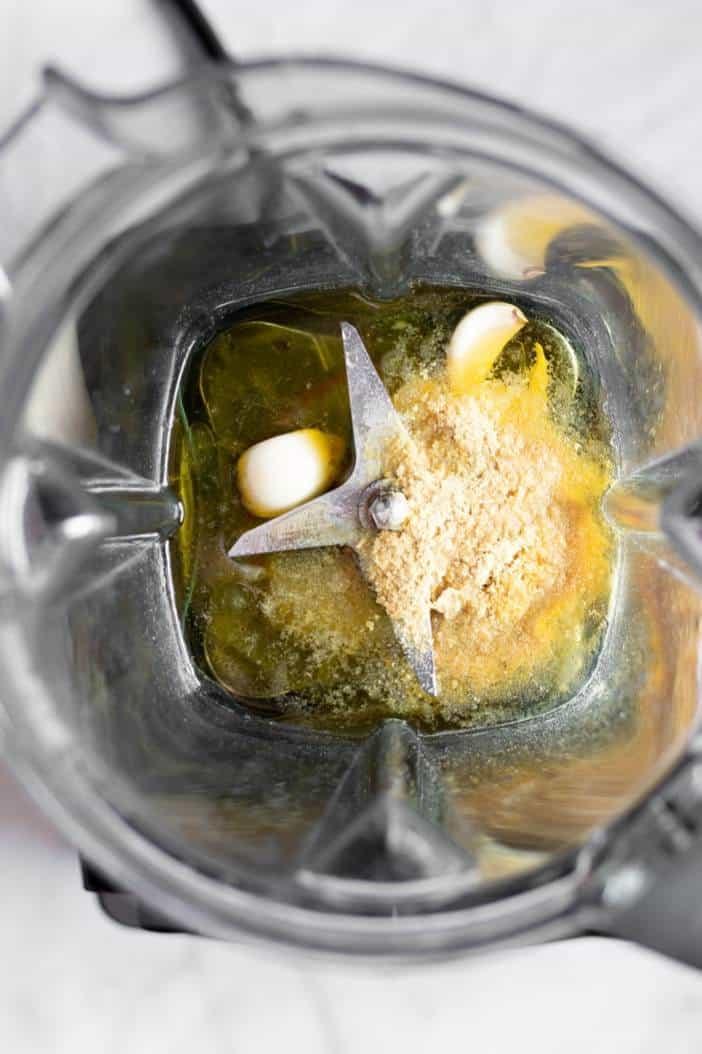 Dijon Vinaigrette ingredients in a blender