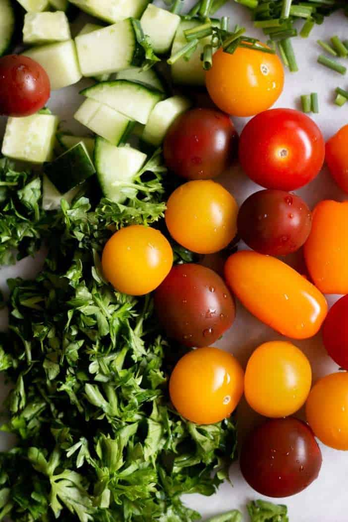 cherry tomatoes, cucumbers and herbs