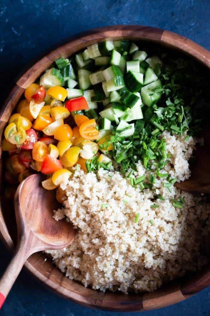 Summer Quinoa Salad with Dijon Vinaigrette in a bowl