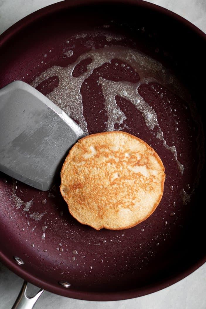 Vegan Buckwheat Pancakes on skillet