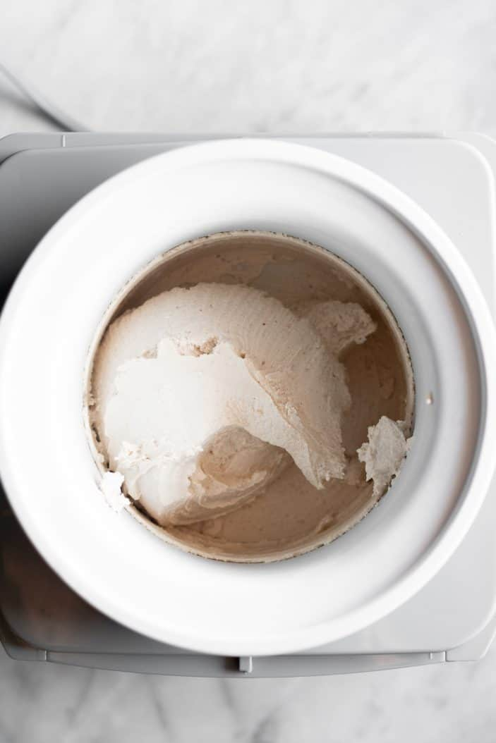 ice cream in an ice cream maker