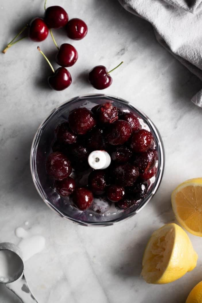 Cherries in a food processor