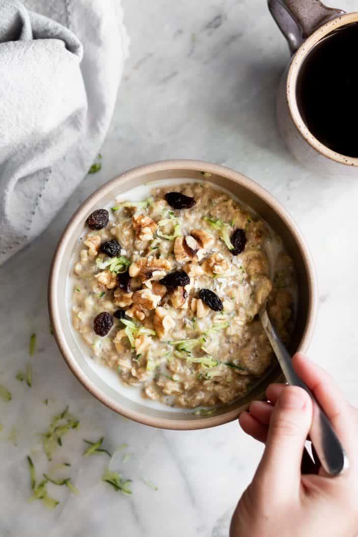Cozy Zucchini Oatmeal in a bowl - August coffee break