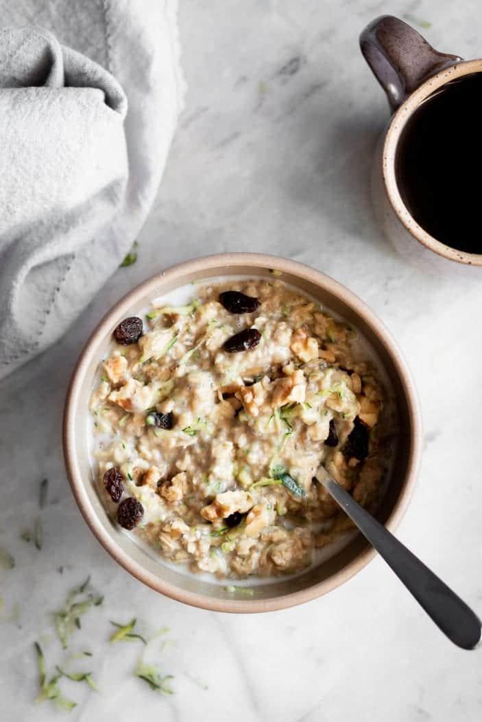 Cozy Zucchini Oatmeal in a bowl