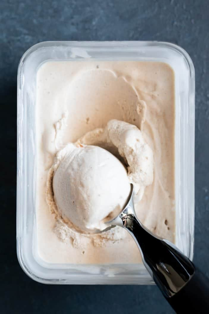 coconut vanilla ice cream scooped from the container
