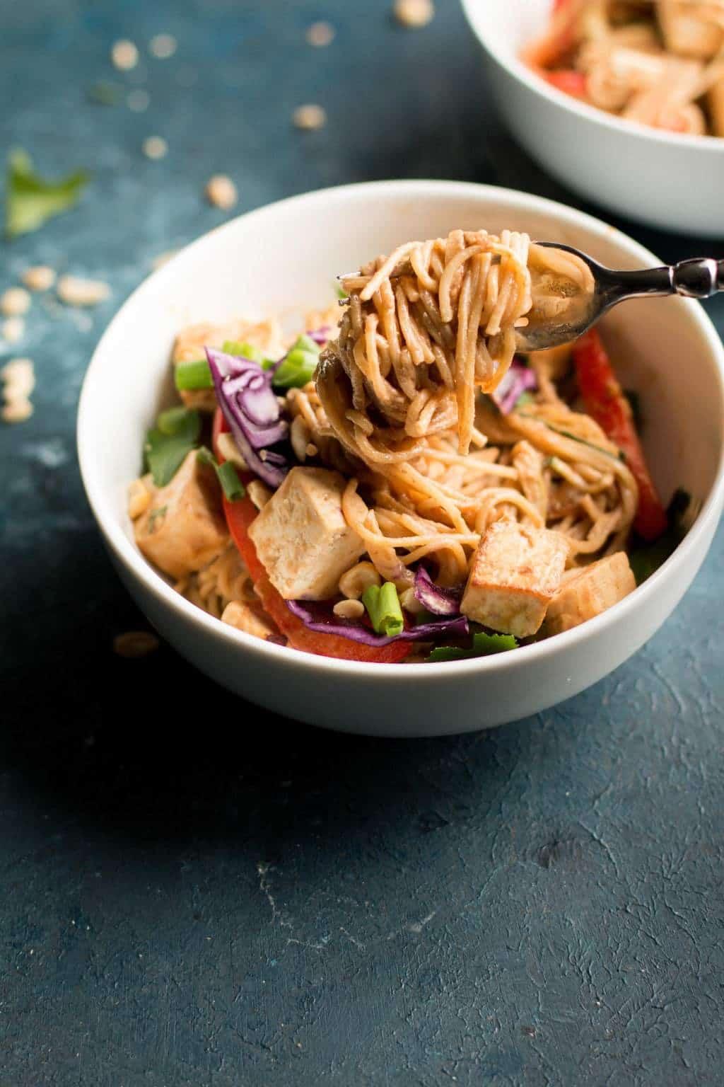 Healthier Peanut Butter Noodle & Tofu Bowl