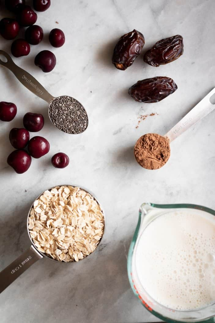 oats, milk, cocoa, cherries, dates and chia seeds