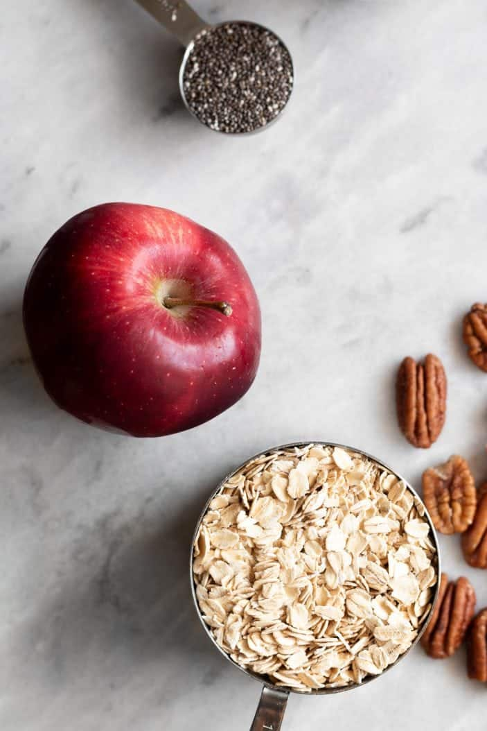 apple, oats, seeds and nuts