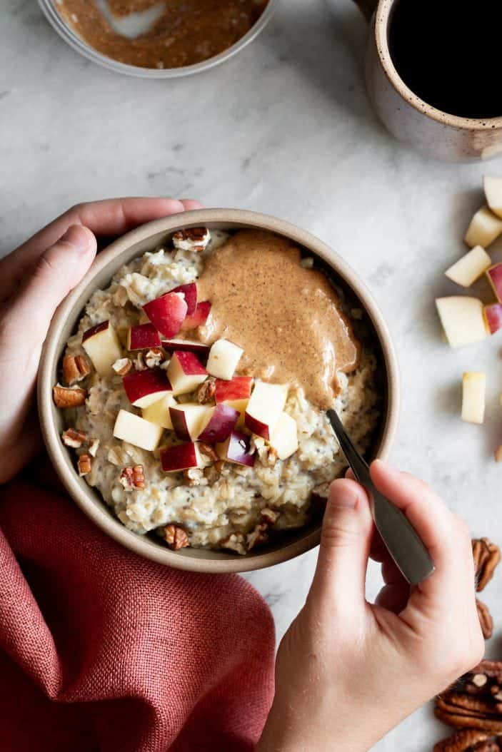 apple cinnamon oatmeal in a bowl from the top