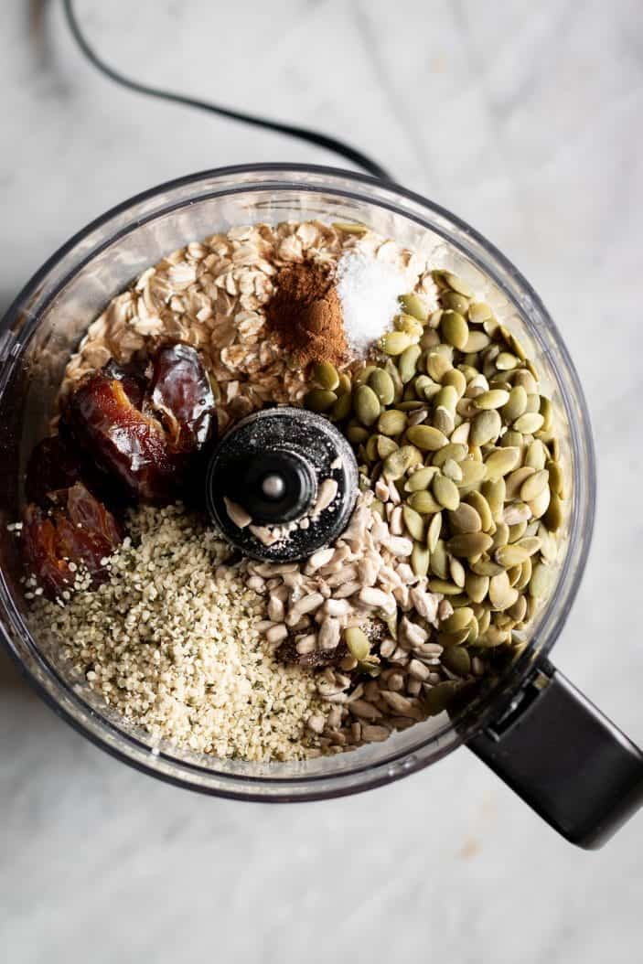 granola bar ingredients in food processor