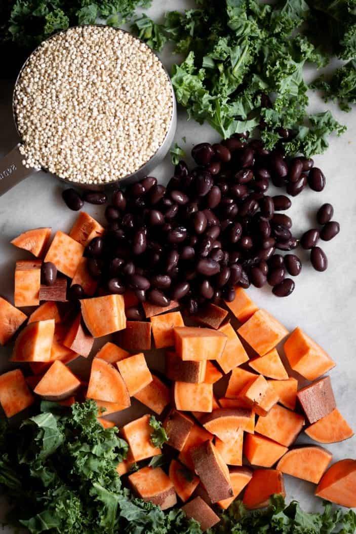 black beans, quinoa and vegetables