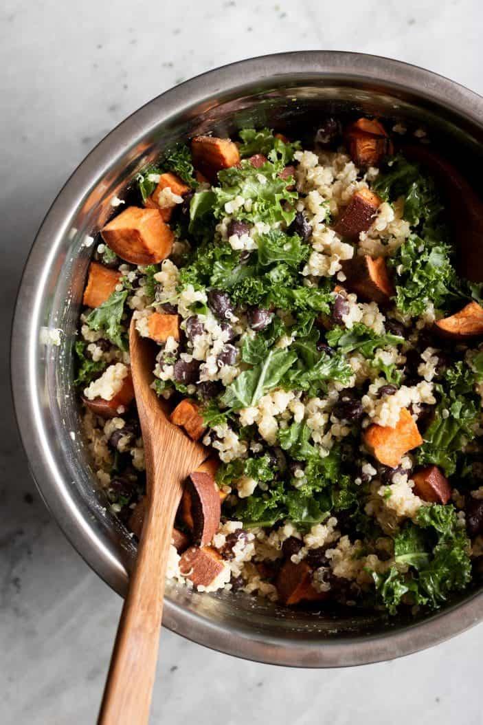 black bean quinoa salad in a big bowl