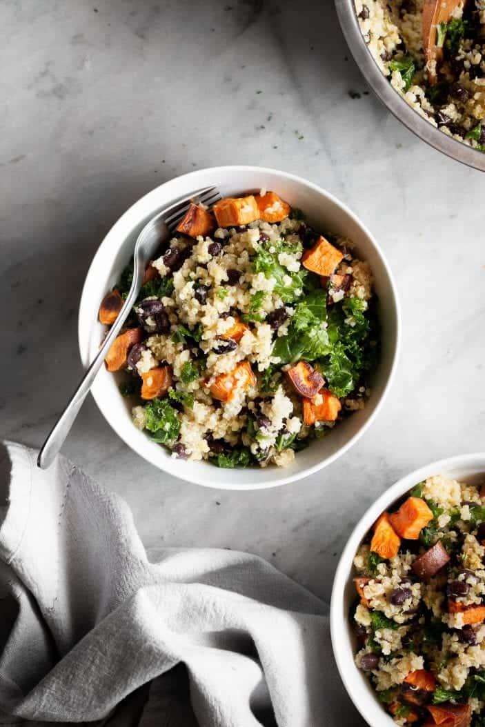 black bean quinoa salad in a bowl