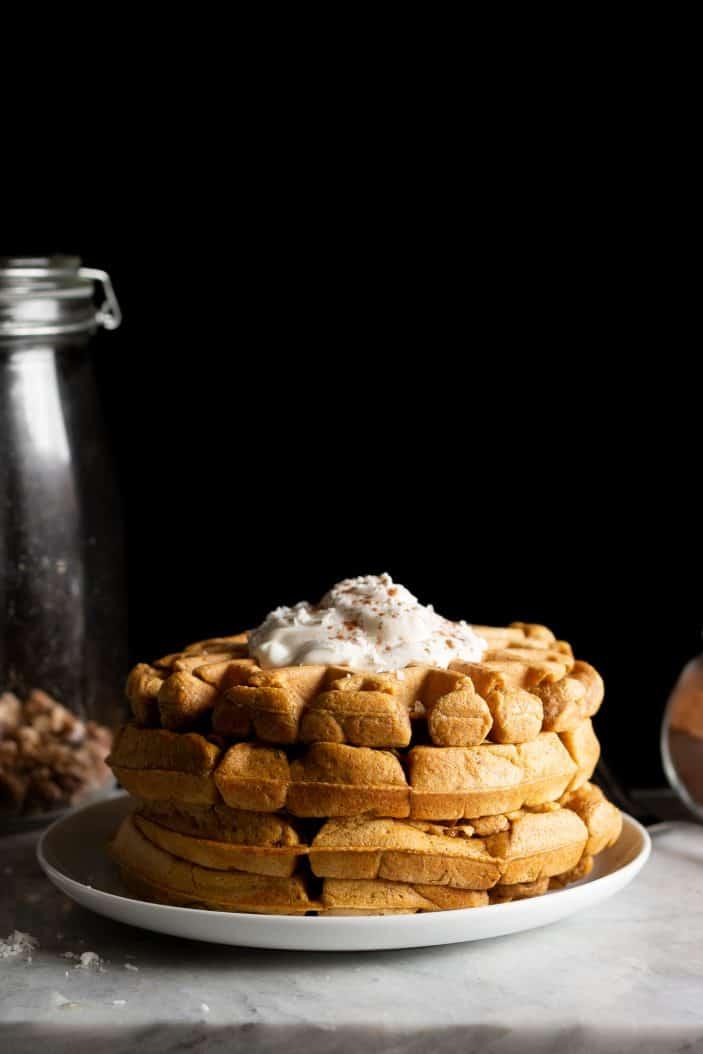 Pumpkin Chai Spiced Waffles on a plate