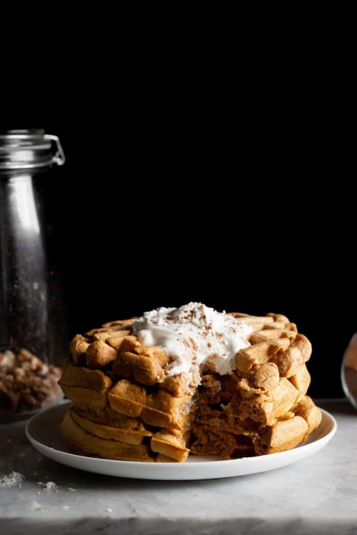 Pumpkin Chai Spiced Waffles with bite taken