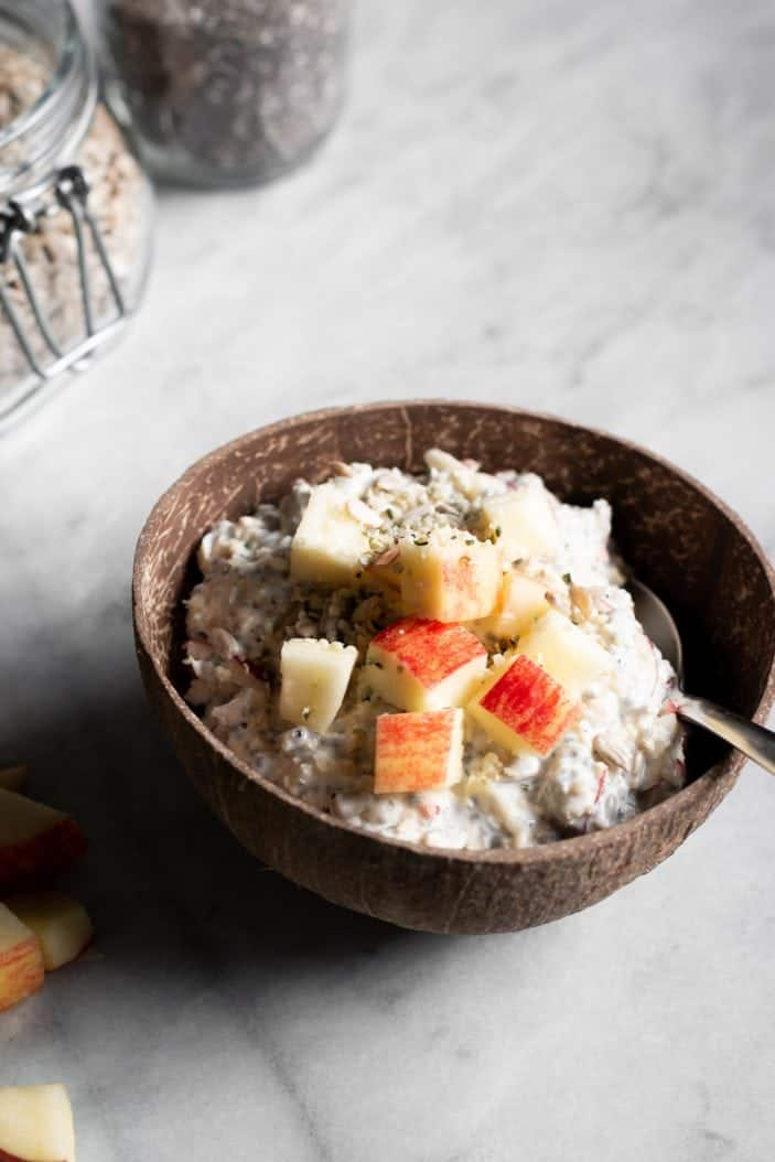 apple muesli in a bowl from the side