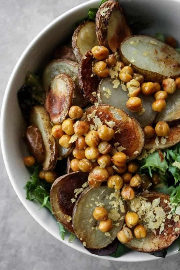 Roasted Potato & Chickpea Salad with Tahini Dressing