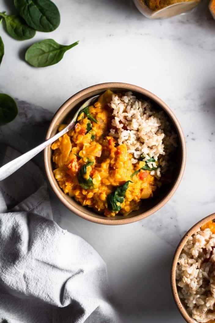 Roasted Cauliflower Lentil Curry