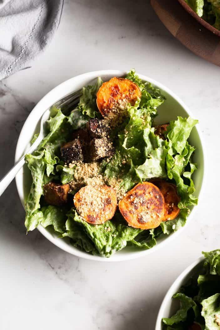 Vegan Caesar Salad with Tempeh & Roasted Sweet Potatoes