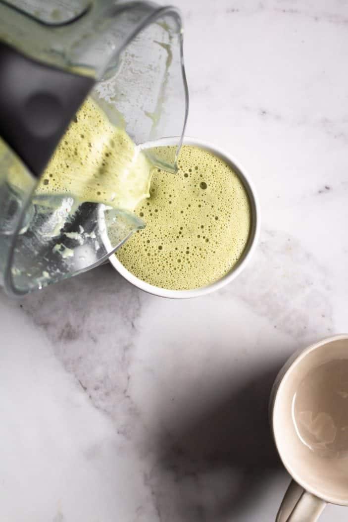 Blender Oat Milk Matcha Latte poured in cup