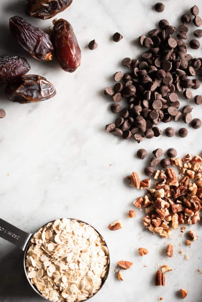 dates, pecans, chocolate and oats