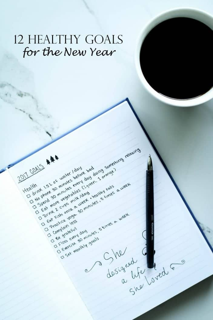 12 Healthy Goals for the New Year in a journal with a coffee on the side seen from the top.