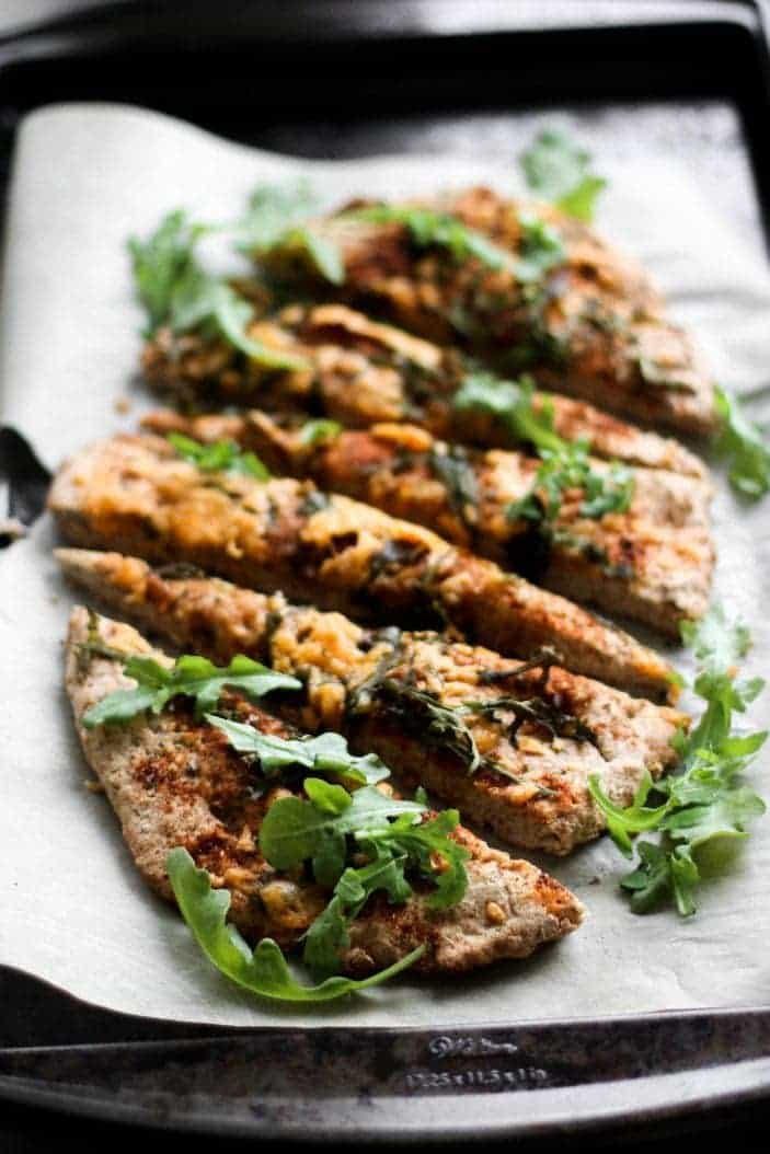Cheezy Whole Wheat Spiced Garlic Flatbread seen froma 45 degree angle