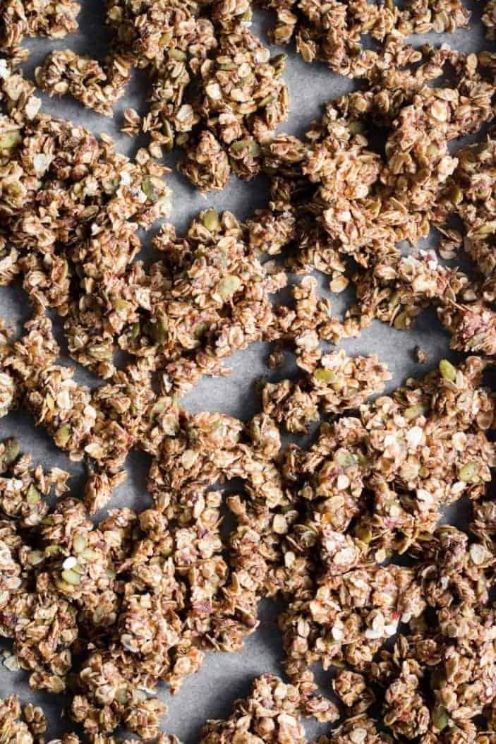 chai granola on baking sheet - October coffee break