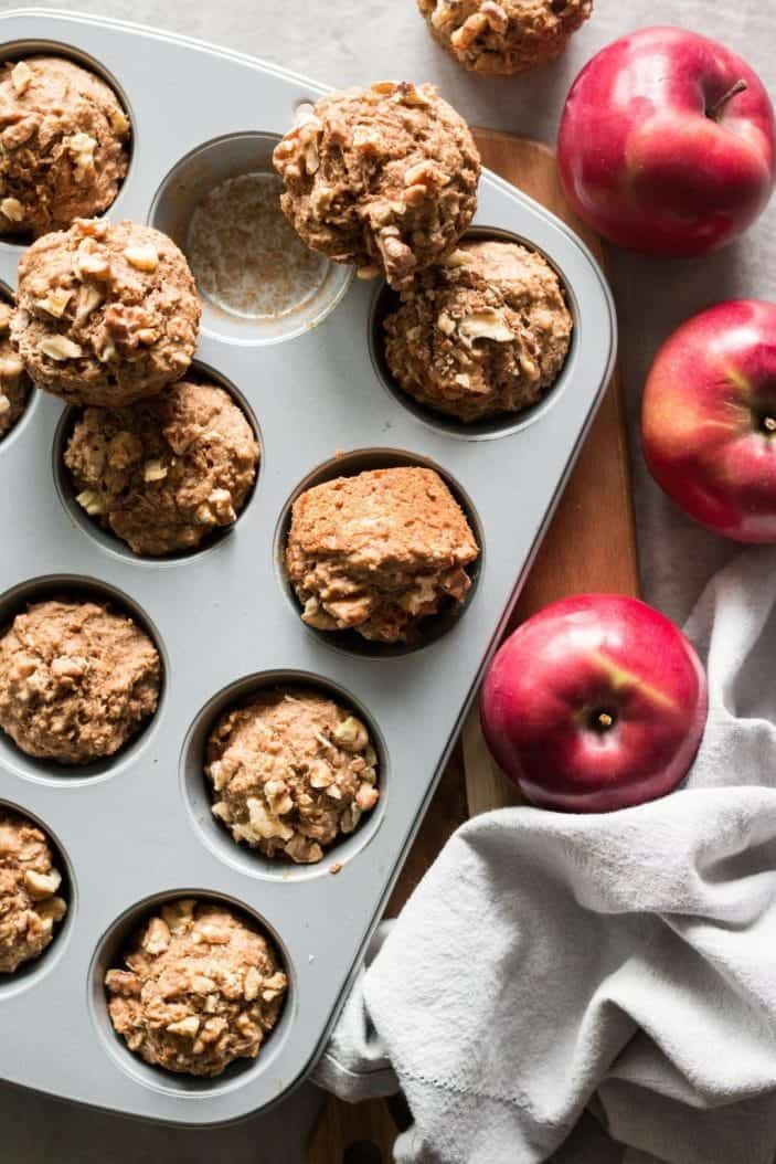 Fruit-Sweetened Apple Muffins in pan