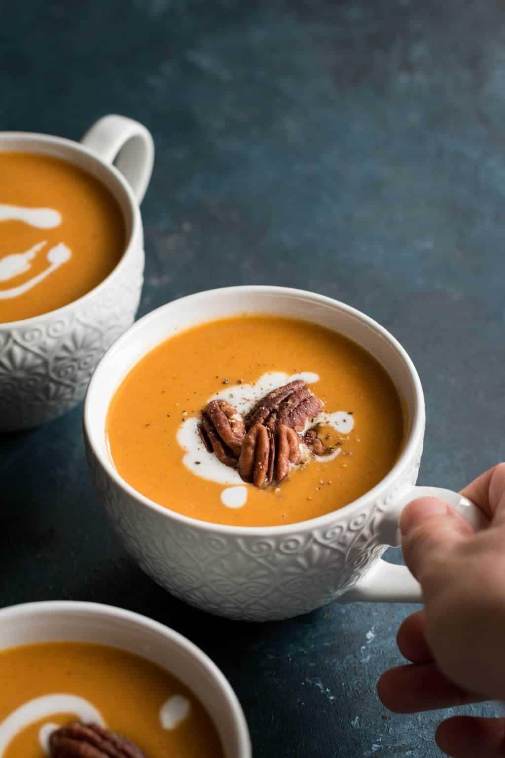Coriander Sweet Potato Soup with Toasted Cinnamon Pecans